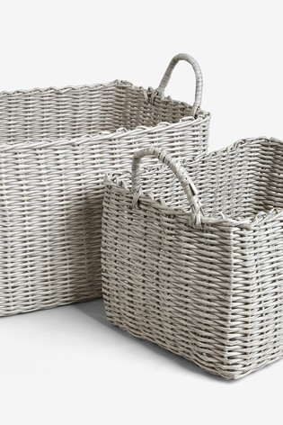 Set of 2 XL Plastic Wicker Storage Baskets