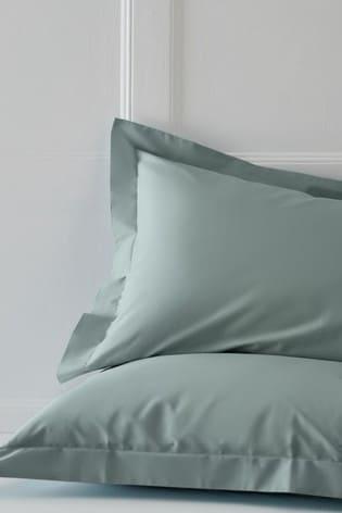 Set of 2 Sage Green Cotton Rich Pillowcases