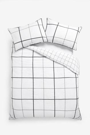 Cotton Rich Monochrome Windowpane Check Duvet Cover And Pillowcase Set