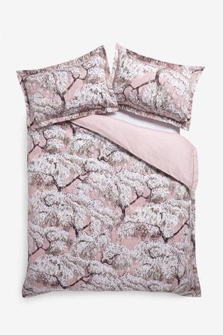 100% Cotton Sateen Blossom Duvet Cover And Pillowcase Set
