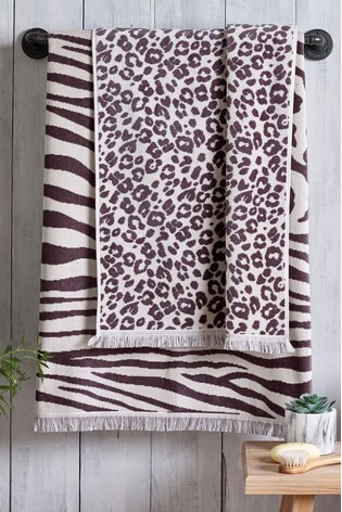 Grey Animal Print Towel