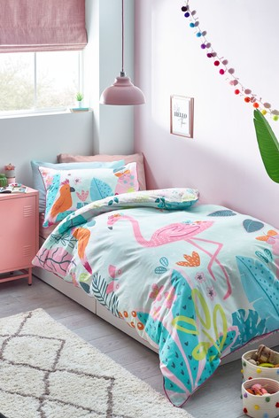 Bright Flamingo Reversible Duvet Cover and Pillowcase Set