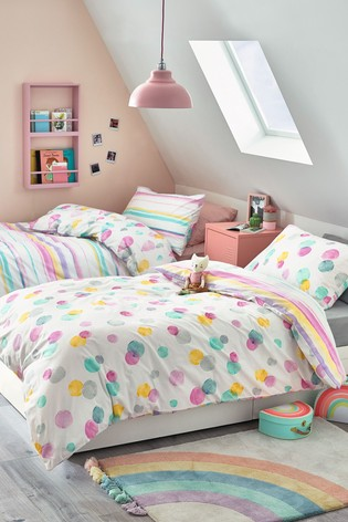 2 Pack Watercolour Pops Reversible Duvet Cover And Pillowcase Set