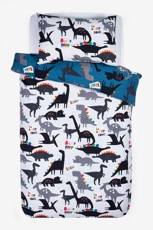 2 Pack Rainbow Dino Reversible Duvet Cover and Pillowcase Set