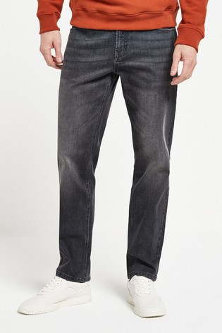 Grey Straight Fit Jeans With Stretch