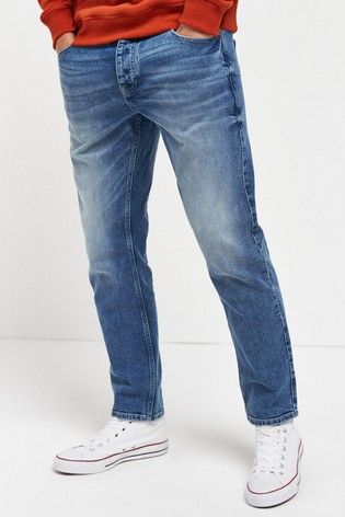 Light Blue Wash Slim Fit Jeans With Stretch