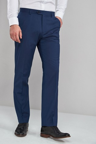 Bright Blue Regular Fit Stretch Formal Trousers