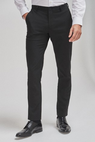 Black Slim Tapered Stretch Formal Trousers