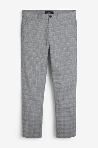 Grey Tapered Slim Fit Check Chinos
