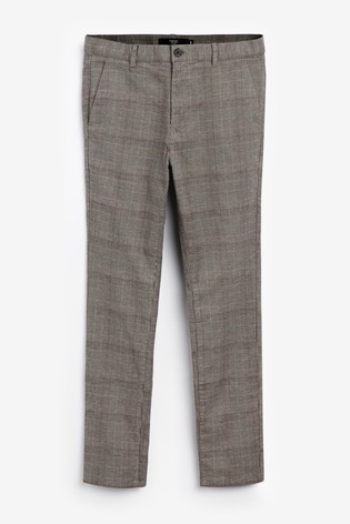 Neutral Skinny Fit Check Chinos