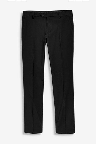 Black Tailored Fit Stretch Formal Trousers