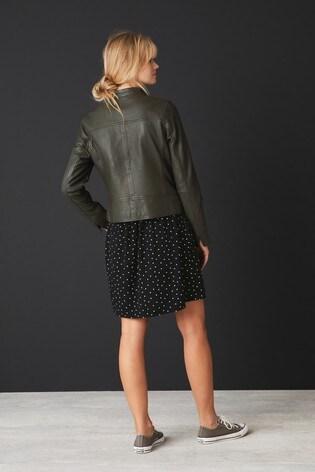 Khaki Leather Biker Jacket