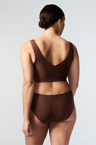 Chantelle Brown Soft Stretch V-Neck Padded Crop Top