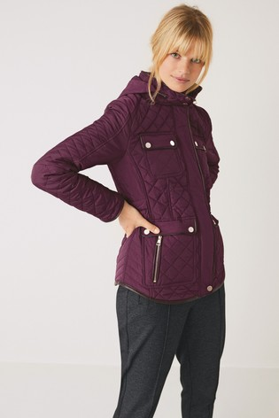 Berry Quilted Short Jacket