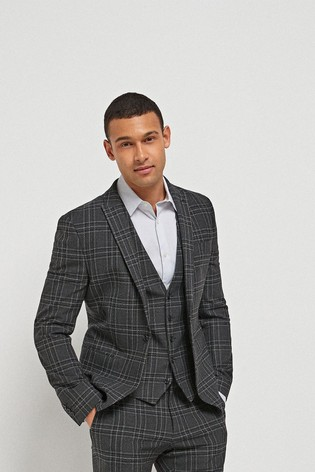 Black Skinny Fit Check Motionflex Suit: Jacket