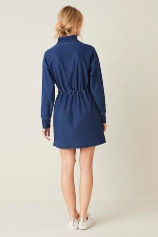 Blue Jersey Denim Drawcord Dress