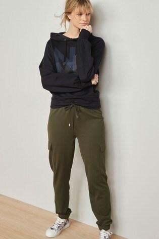 Khaki Jersey Cargo Trousers