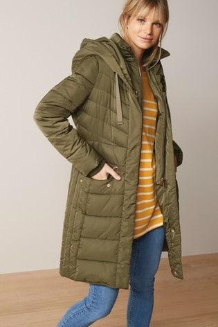 Khaki Double Layer Long Padded Coat