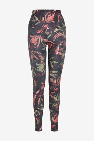 Floral Rust High Waist Sculpting Sports Leggings