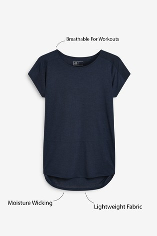 Navy Neppy Short Sleeve Sports Top
