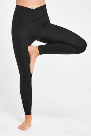 Black 7/8 Wrap Waist Sports Leggings