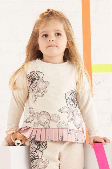 Angel & Rocket Oatmeal Marl Flower Gem Sweater