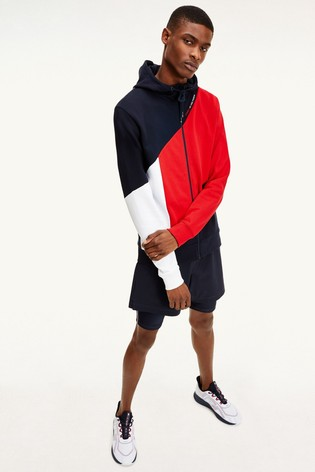 Tommy Hilfiger Blue Blocked Terry Hoodie