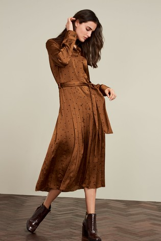 Ginger Pleated Shirt Dress by Next