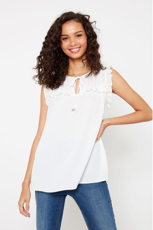 F&F Ivory Ruffle Sleeveless T Shirt by Next
