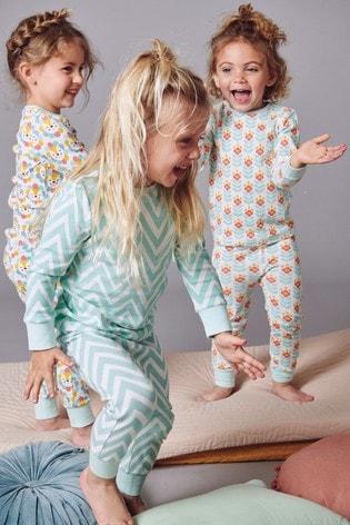 Teal/Ecru 3 Pack Snuggle Pyjamas (9mths 8yrs) by Next