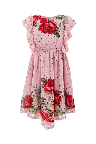 Monsoon Children Pink Magical Spotty Rose Dress by Next