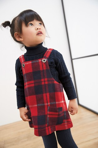 Check Pinafore With Tights (3mths 7yrs) by Next
