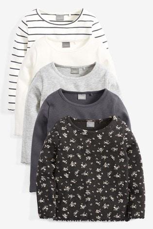 5 Pack Long Sleeve T Shirts (3mths 7yrs) by Next
