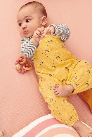 Ochre Rainbow Cord Dungarees And Bodysuit (0mths 2yrs) by Next