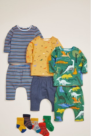 Green/Blue 3 Pack Dinosaur T Shirts (0mths 2yrs) by Next