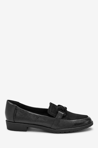 Black Cleated Chain Loafers