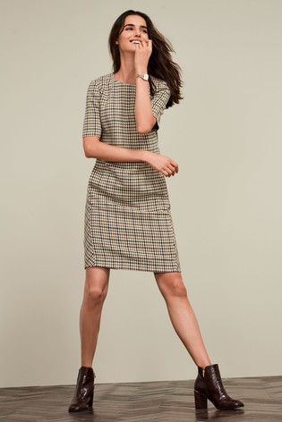 new appearance lowest price new specials Dogtooth Short Sleeve Shift Dress