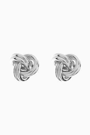 Sterling Silver Knot Detail Stud Earrings