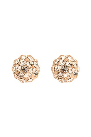 Sterling Silver Rose Gold Plated Diamanté Ball Stud Earrings