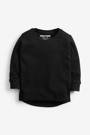 Black Long Sleeve Textured T-Shirt (3mths-7yrs)