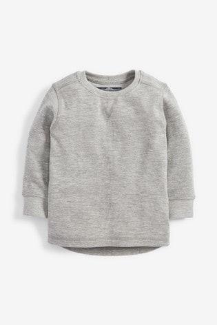 Grey Marl Long Sleeve Textured T-Shirt (3mths-7yrs)