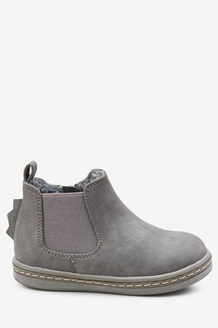 Grey Warm Lined Chelsea Boots (Younger)
