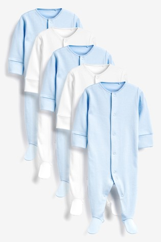 Blue/White 5 Pack Essentials Sleepsuits (0-12mths)