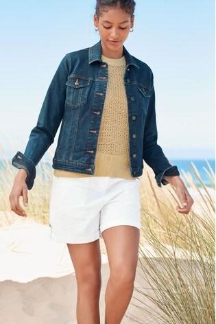 White Linen Blend Shorts