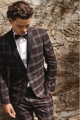 Burgundy Check Tuxedo Suit: Jacket by Next