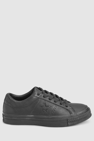 Converse Black/Black Leather One Star Trainers