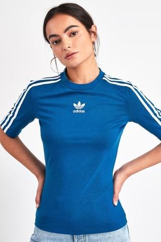 adidas originals blaues boyfriend t shirt mit drei streifen