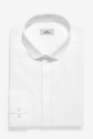 White Skinny Fit Single Cuff Textured Concealed Placket Shirt