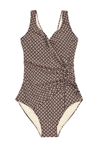 Black Geo Ruched Wrap Front Shape Enhancing Swimsuit