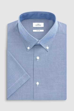 Mid Blue Slim Fit Short Sleeve Easy Care Oxford Shirt